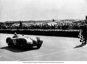 Peter Whitehead (racing driver) - Whitehead takes the flag to win the 1951 24 Hours of Le Mans race