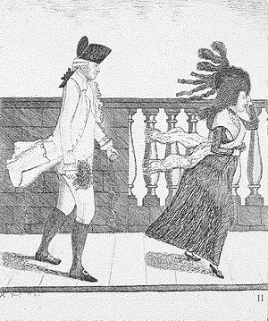 James Graham (sexologist) - Dr. James Graham going along the North Bridge in a High Wind, caricature portrait from 1785 by John Kay