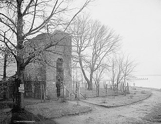 Virginia State Capitol - Remains of the 1639 tower of the old church (photographed c. 1900)