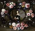 Jan Breughel (II) (attr.) and Gonzales Coques (attr.) - Flowers surrounding a cartouche with a portrait of an unknown woman.jpeg