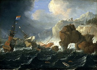 Ships and a Galley Wrecked on a Rocky Coast