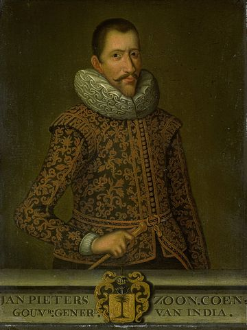 Jan Pieterszoon Coen (8 January 1587 - 21 September 1629), the founder of Batavia, was an officer of the Dutch East India Company (VOC) in the early seventeenth century, holding two terms as its Governor-General of the Dutch East Indies. Jan Pieterszoon Coen.jpg