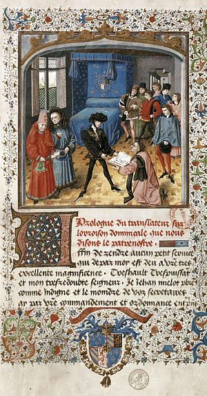 Jean Miélot - Presentation miniature by Jean le Tavernier, 1454-7, Brussels.  Jean Miélot giving Philip the Good, Duke of Burgundy, his translation of the Traité sur l'oraison dominicale.