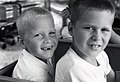 Jeb and Neil Bush on the train around the park at the Houston Zoo. August 1961.jpg