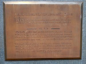 Mississippi City, Mississippi - Plaque commemorating Jefferson Davis's Mississippi City speech.