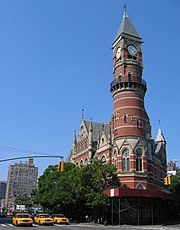 Jefferson Market Library, once a courthouse, now serves as a branch of the New York Public Library.