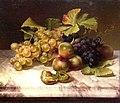 Johann Wilhelm Preyer, Früchtestillleben mit weißen und blauen Trauben auf Marmorplatte, 1844.jpg