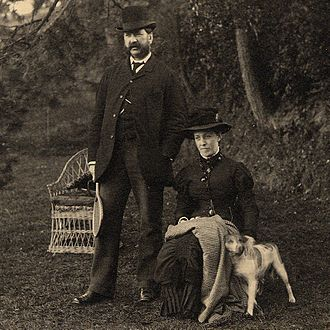 John Alexander (chief clerk) - John Alexander formally dressed in a garden with wife Mary Elizabeth (née Thwaites), about 1875.