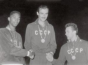 Athletics at the 1960 Summer Olympics – Men's high jump - Left-right: Thomas, Shavlakadze, Brumel