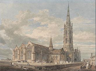St Wulfram's Church, Grantham - The church painted by J. M. W. Turner, c. 1797