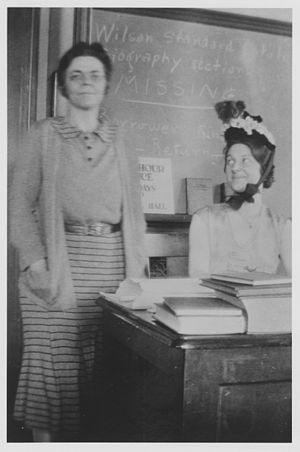 Josephine Adams Rathbone - Josephine Adams (right) pokes fun of the staid image of her respected instructor, Josephine Adams Rathbone (left). Pratt Institute, Brooklyn, NY, 1931.