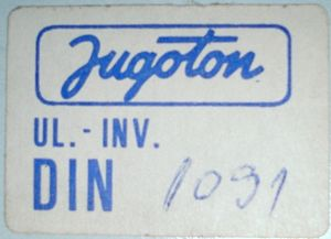 Jugoton - 1980s price sticker featuring Jugoton company logo. The price is in Yugoslav dinars