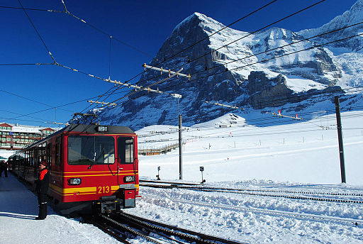 Jungfraubahn cogwheel switzerland with Eiger