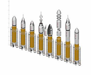 Shuttle-Derived Launch Vehicle - Some envisioned Jupiter configurations, including crew and cargo variants