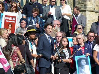 Missing and murdered Indigenous women - Prime Minister of Canada, Justin Trudeau, giving a speech on missing and murdered Indigenous women in front of Parliament in Ottawa in October 2016.