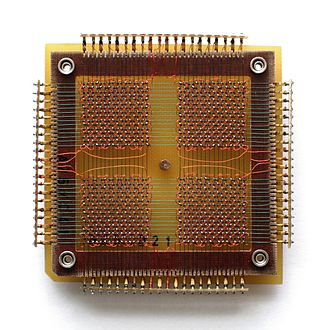 Memory cell (computing) - A 32 x 32 core memory plane storing 1024 bits of data.