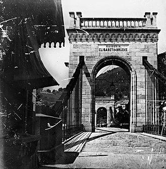 Děčín - View of the Kaiserin Elisabeth Brücke (bridge) ca 1890.