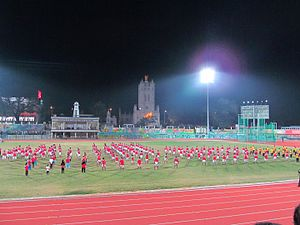 Chandrasekharan Nair Stadium - Kalaripayattu demonstration for 35th National Games in Chandrasekharan Nair Stadium Thiruvananthapuram Kerala
