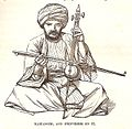 Kamanjeh, and performer on it, p. 578 in Thomson, 1859.jpg