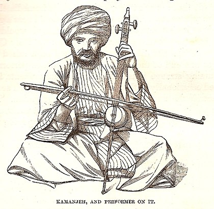 Kamanjeh performer in Jerusalem, 1859 Kamanjeh, and performer on it, p. 578 in Thomson, 1859.jpg