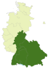 Map of Germany:Position of the 2nd Oberliga Süd highlighted