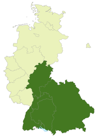 Oberliga Süd (1945–63) - Map of Germany:Position of the Oberliga Süd highlighted