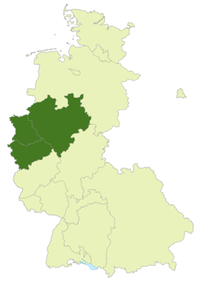 Oberliga West (1947–63) - Map of Germany: Position of the Oberliga West highlighted