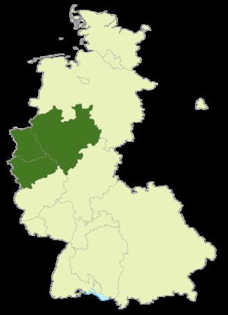 2. Oberliga West - Image: Karte DFB Lage von Westdeutschland (1947 1990)