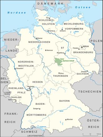 Harz/Saxony-Anhalt Nature Park - Location of the Harz/Saxony-Anhalt Nature Park