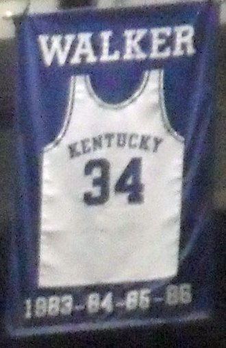 Kenny Walker - Kenny Walker's jersey was retired by the University of Kentucky. This banner hangs in Rupp Arena.