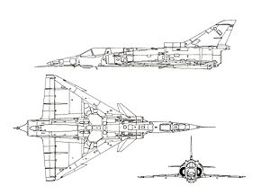 Orthographically projected diagram of the IAI Kfir