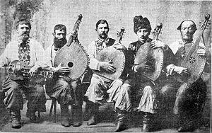 Lirnyk - Ukrainian lirnyk with kobzari, Okhtyrka, 1911.
