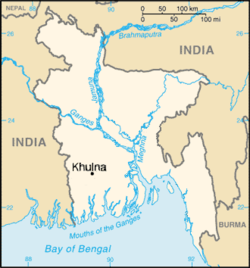 Location of Khulna in Bangladesh