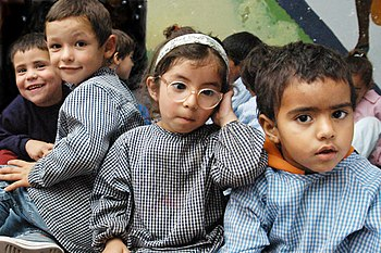 Kindergarten kids at a public school in Montevideo%2C Uruguay