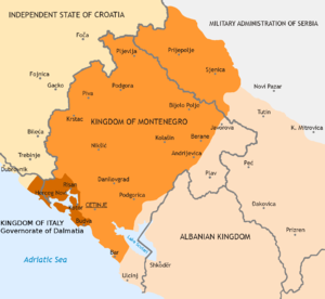 Uprising in Montenegro (1941) - The proposed Italian puppet state Kingdom of Montenegro