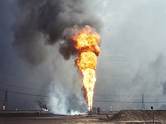 Kuwaiti oil fires - Kuwaiti oil well fire, south of Kuwait City, March, 1991
