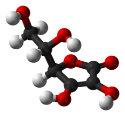 The structure of the antioxidant vitamin ascorbic acid (vitamin C).