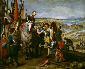 Siege of Jülich (1621–22) - The Surrender of Jülich circa 1635 by Jusepe Leonardo, oil on canvas. Museo del Prado.