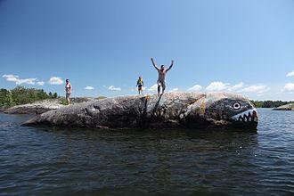 "Lake Nipissing - People playing on the Lake Nipissing ""whale"""