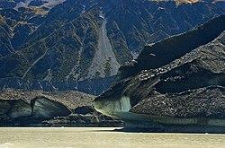 The terminal face of the Tasman Glacier at Lake Tasman
