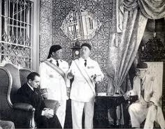 Conventions of La Marsa - Lamine Bey receiving Mendès France in 1954