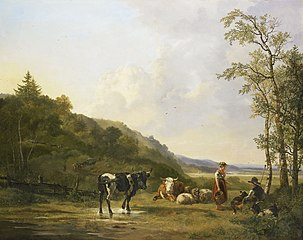 Landscape with Shepherd, Shepherdess and Cows