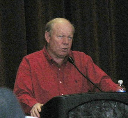 Miller speaking to protesters at the University of Utah regarding his decision. Larry H. Miller.jpg