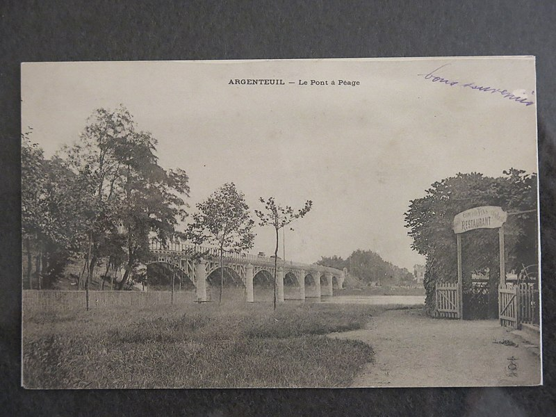 Toll bridge on the side of Argenteuil (Val-d'Oise, France) looking to Gennevilliers circa 1900.