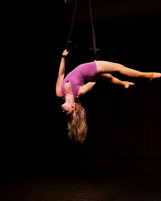Aerial straps - Aerialist performing on aerial straps.