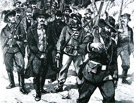 A sketch showing the arrest of Jameson after the failed raid, in 1896 Leander Starr Jameson00.jpg