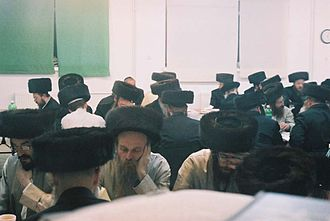 Lelów - Hasidic Jews praying in the synagogue