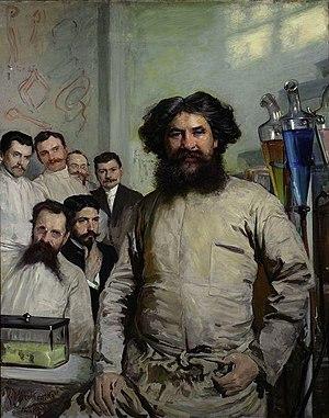 Ludwik Rydygier - Ludwik Rydygier with his assistants. Painting by Leon Wyczółkowski