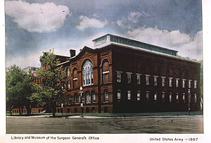"Library of the Surgeon General's Office - The Army Medical Museum and Library building housed the US Army's medical library from 1887 until 1956.  ""Old Red"", as it was affectionately known, was located on the National Mall in Washington, DC. It was razed in 1969."