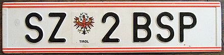 Example of a licence plate in Austria without the EU symbol used 1990–2002